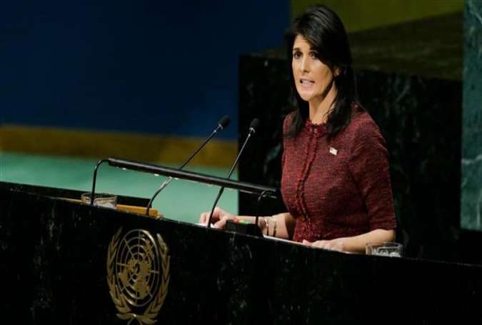 United States Ambassador to the United Nations Nikki Haley addresses the UN General Assembly prior to a vote on Jerusalem al-Quds, on December 15, 2017. (Photo by AFP)