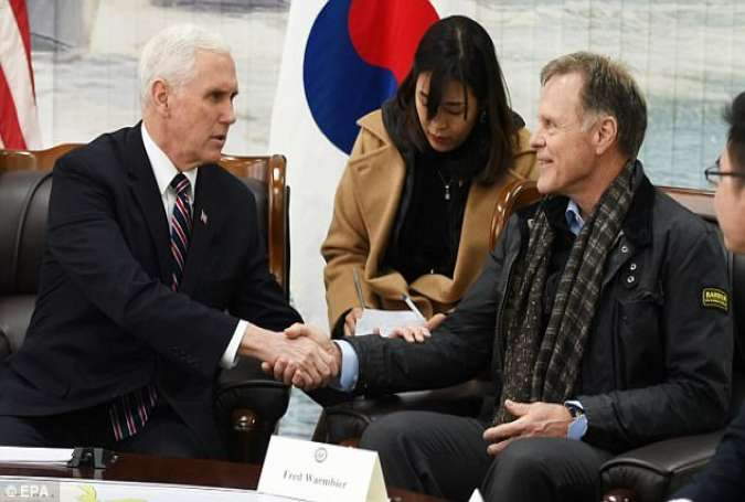 Mike Pence, US Vice President with Fred Warmbier in South Korea