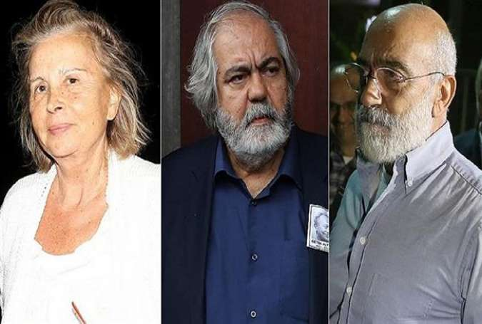 From left to right, the file photo shows prominent Turkish journalists Nazli Ilicak, Mehmet Altan and his brother Ahmet, who were sentenced to life in prison on February 16, 2018 over accusations of involvement in the country