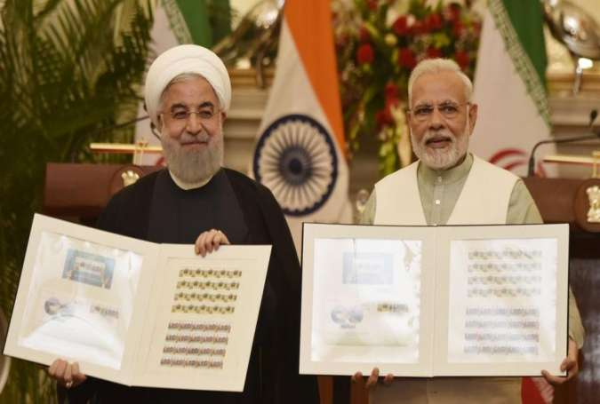 Iran President Dr. Hassan Rouhani with PM Narendra Modi at Hyderabad House in New Delhi.