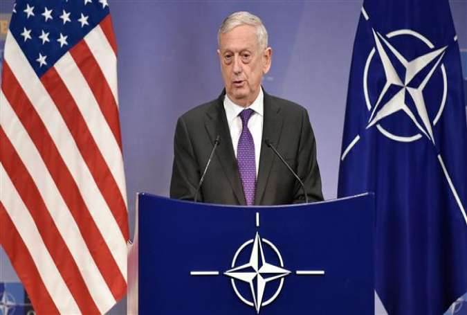 US Defense Minister James Mattis delivers a speech during a press conference at the NATO headquarters in Brussels on February 15, 2018. (AFP photo)