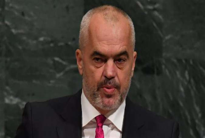 This file image shows Edi Rama, the prime minister of Albania, speaking during the 72nd session of the General Assembly at the United Nations in New York, on September 22, 2017. (By AFP)