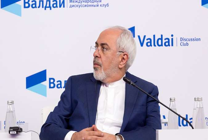 Iranian Foreign Minister Mohammad Javad Zarif at the Valdai Discussion Club's conference in Moscow,