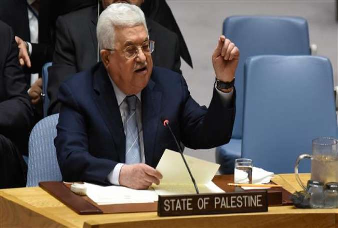 Palestinian leader Mahmoud Abbas speaks at the United Nations Security Council on February 20, 2018 in New York. (Photo by AFP)