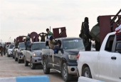 Convoy of pro-Syrian government fighters arriving in Syria