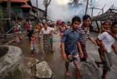 Rohingya Muslims fleeing Ethnic cleansing in Myanmar