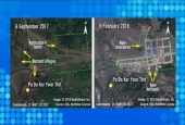 This re-framed handout combination image of two satellite photographs, released by Amnesty International and DigitalGlobe on March 12, 2018, shows before and after images of the village of Pa Da Kar Ywar Thit in Myanmar's Rakhine State, showing military bases built on Rohingya land. (Original photos via AFP)