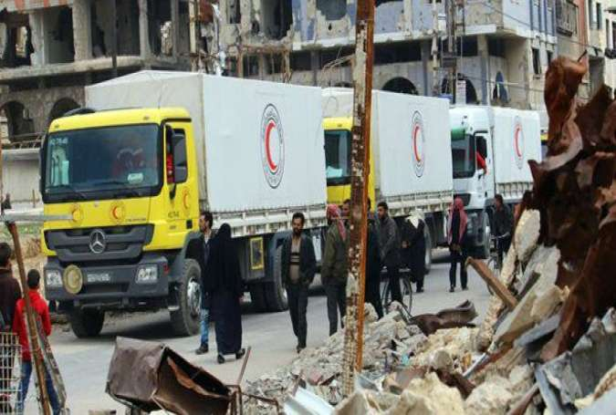 Aid convoy of 25 trucks entered the eastern Gouta, Damascus Syria.jpg