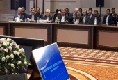 Picture taken in the Kazakh capital Astana on March 16, 2018 shows the Iranian delegation to Syria talks featuring Foreign Minister Mohammad Javad Zarif (3rd L)
