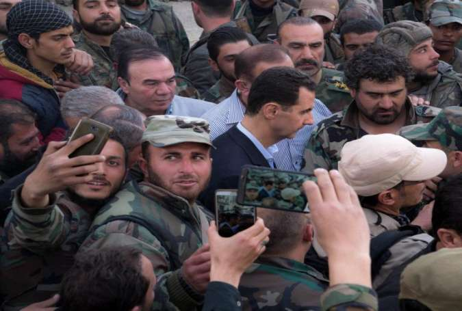 Syrian President Visits Troops at E Ghouta's Frontline