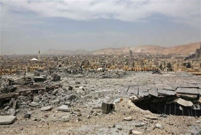 A general view of destruction in the town of Douma on the outskirts of Syria