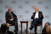 Mohammad Zarif answers questions from Stephen Hadley at the Council on Foreign Relations.jpg