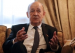 French Foreign Minister Jean-Yves Le Drian speaks during a meeting with his counterpart Egypt