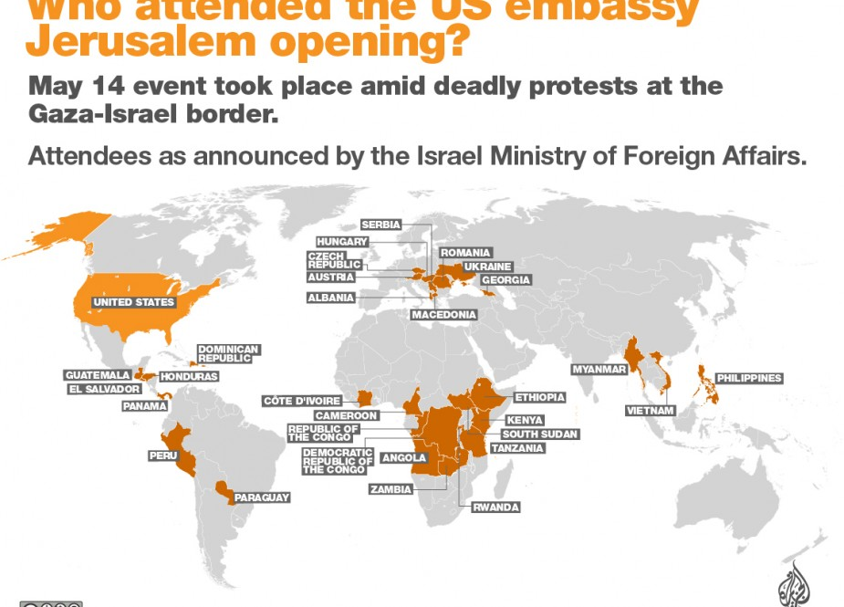 Which Countries Attended Opening of US Embassy in Jerusalem
