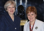 UK Prime Minister Theresa May (L) with Scottish First Minister Nicola Sturgeon at 10 Downing Street on November 14, 2017. (Getty Images)