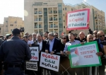 Israeli Arab Knesset (Parliament) members and left wing activists participate in protest against the opening of the new US embassy in Jerusalem al-Quds, during the embassy