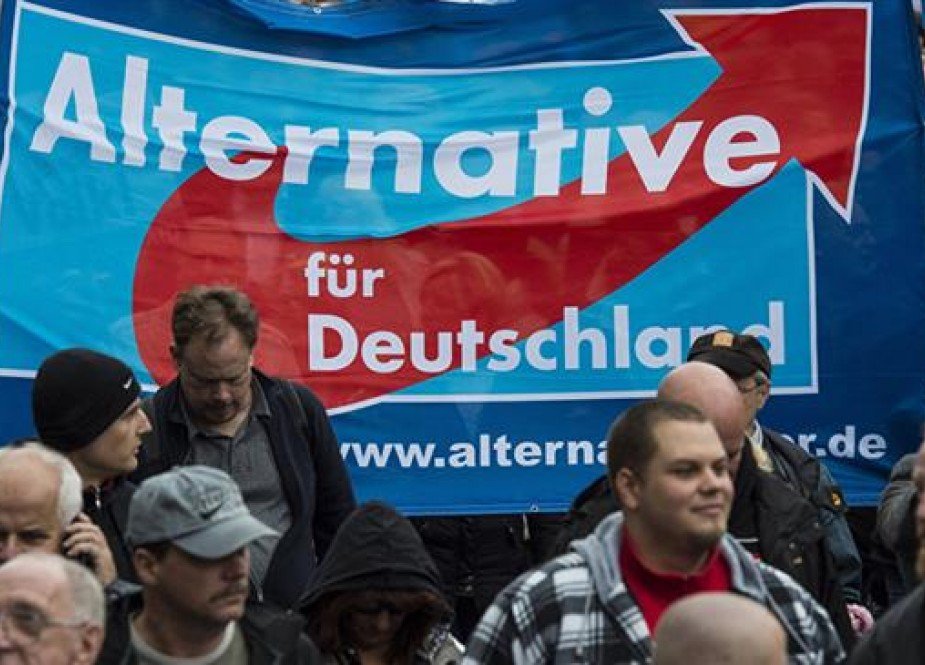 File photo of an AfD banner displayed during a demonstration by supporters of the far-right, anti-immigrant political party in Germany