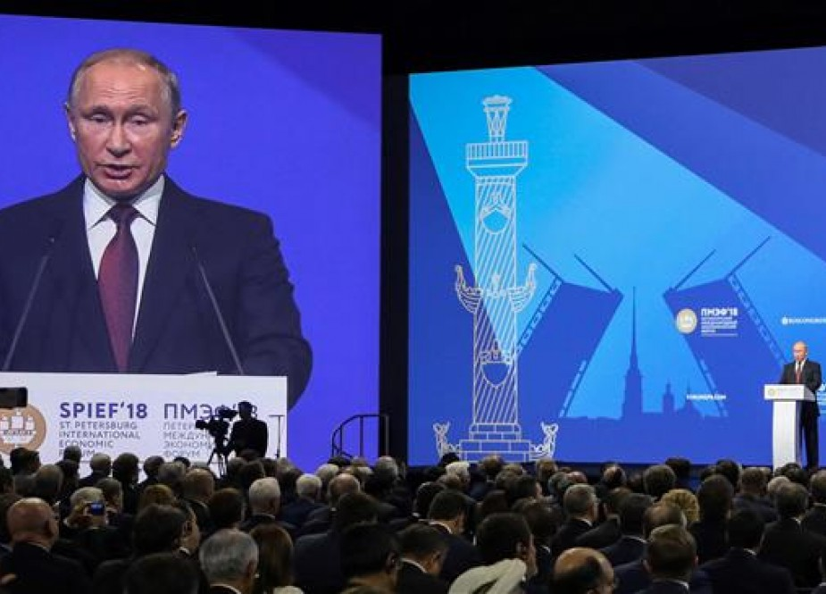 Vladimir Putin, Russian President gives a speech at a session of the Saint Petersburg International Economic Forum