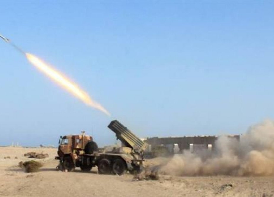 The undated photo shows the firing of Yemeni missiles at Saudi positions in retaliation for Riyadh