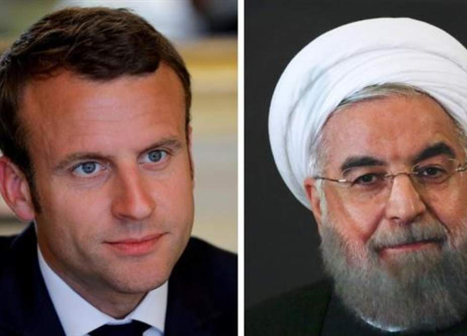 Iranian President Hassan Rouhani (R) and his French counterpart, Emmanuel Macron