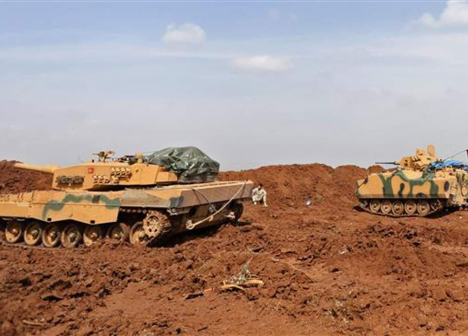 A file photo of Turkish military tanks during battles with Kurdish militants (by AFP)