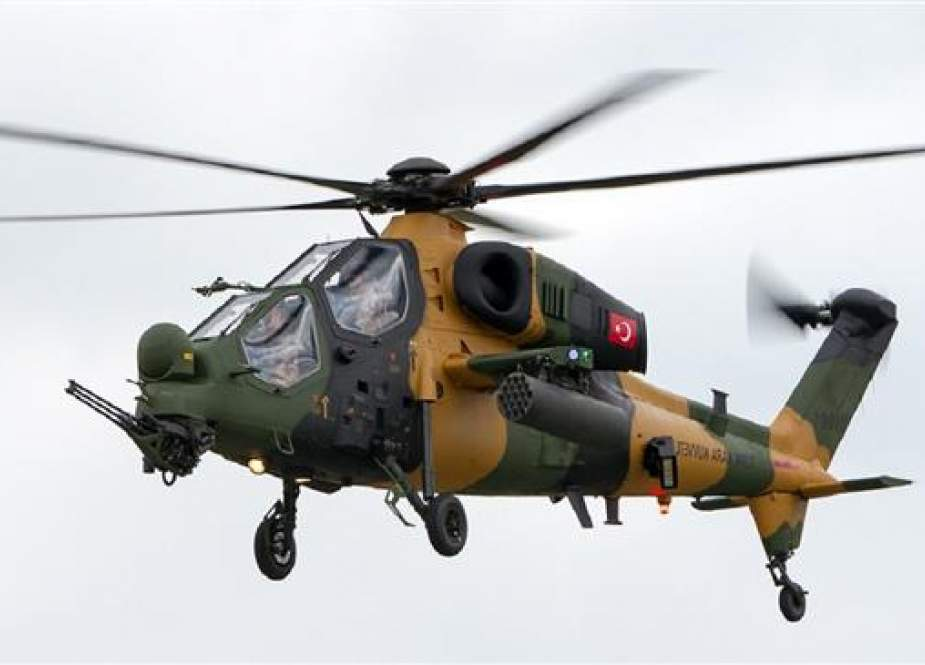 This file picture shows a TAI/AgustaWestland T129 ATAK multi-role and all-weather attack helicopter in flight.