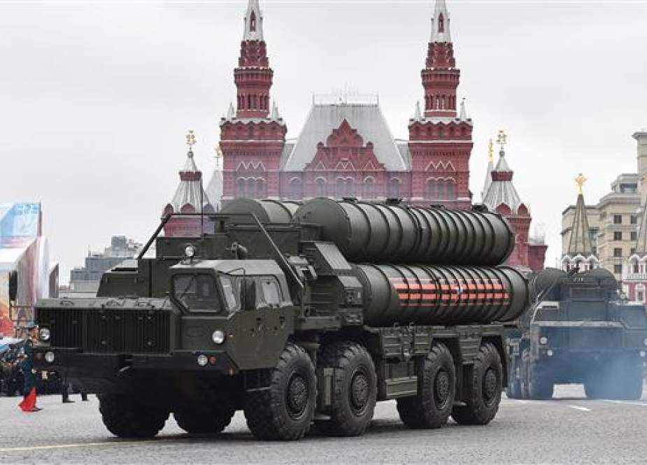 This file photo taken on May 9, 2017 shows Russian S-400 Triumph medium-range and long-range surface-to-air missile systems riding through Red Square during the Victory Day military parade in Moscow. (Photo by AFP)