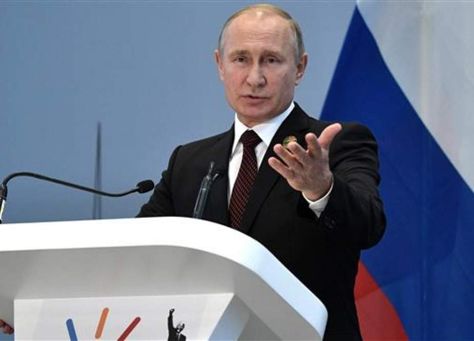 Russian President Vladimir Putin holds a press conference at the end of the 10th BRICS summit (acronym for the grouping of the world