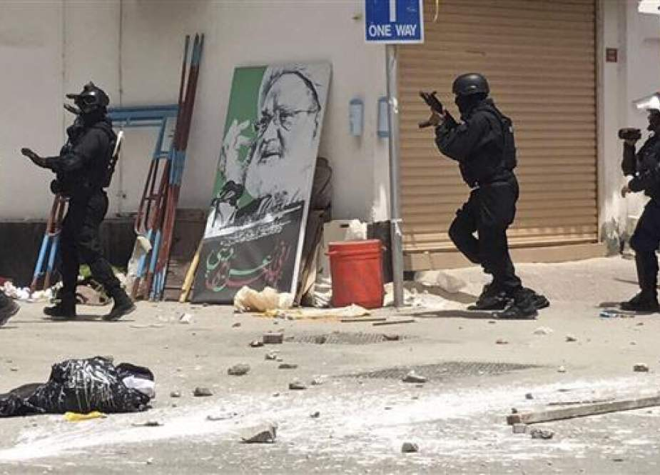 The image provided by an unnamed activist shows Bahraini forces during a raid on a sit-in demonstration, in Diraz, Bahrain, May 23, 2017. (Via AP)