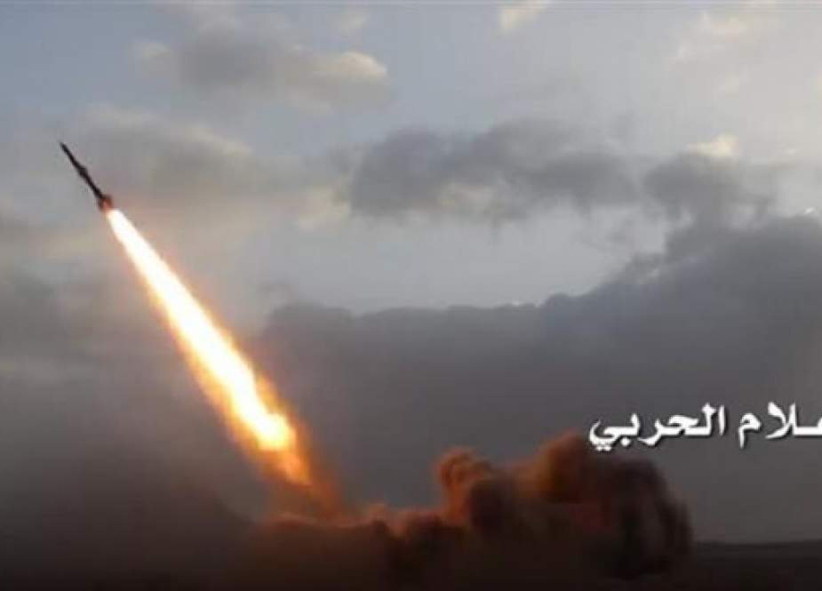 The undated photo shows a Yemeni missile shortly after launch.