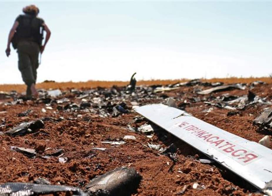 Remains of a drone downed a day earlier in southwestern Syria.jpg