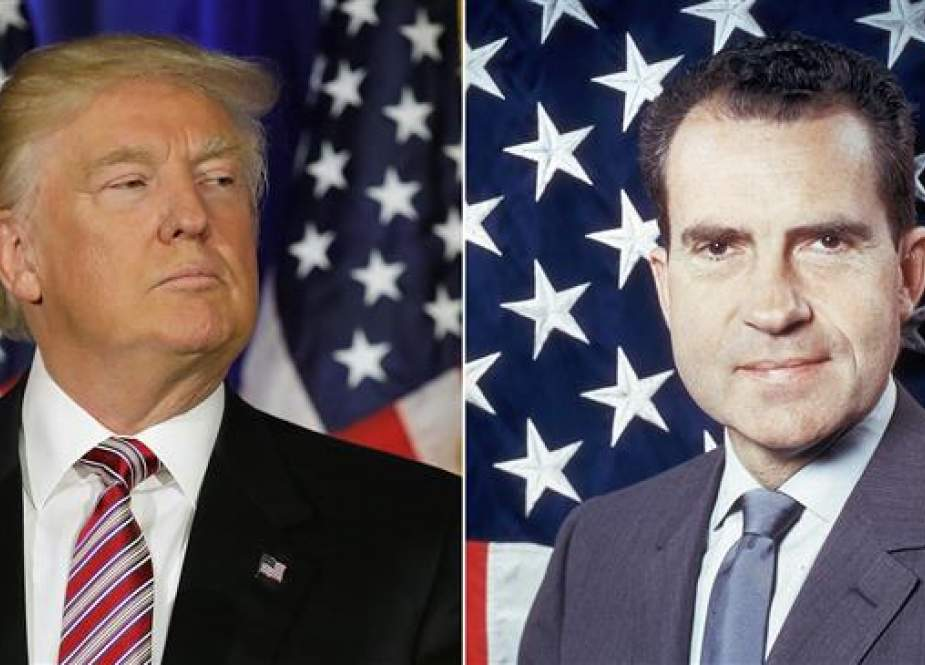 New poll finds that current US President Donald Trump (L) is as highly disliked by Americans as former president Richard Nixon prior to resigning following the Watergate scandal. (File photo)