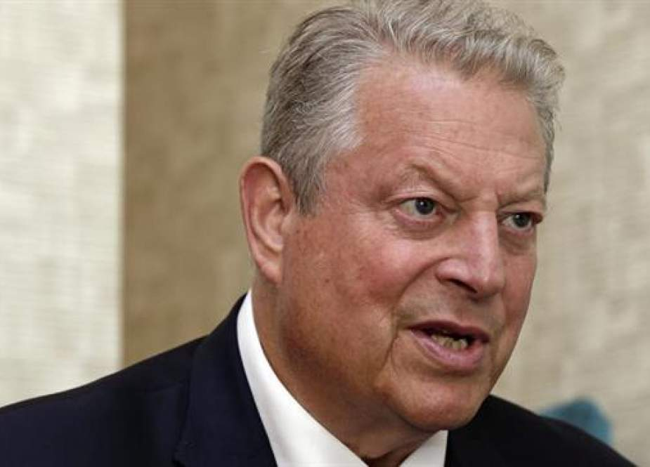 Former US Vice President Al Gore speaks during an interview in Greensboro, N.C., Monday, Aug. 13, 2018. (Photo by AP)