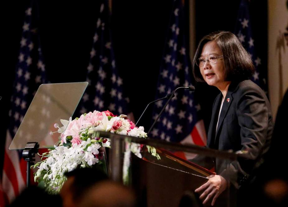 Taiwan President Tsai Ing-wen speaking during her visit to Los Angeles, California, during a stopover en route to allies Paraguay and Belize. (Photo by AFP)