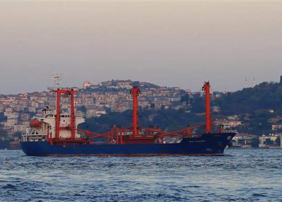 The file photo shows a cargo ship sailing in the Bosporus Strait, Turkey.