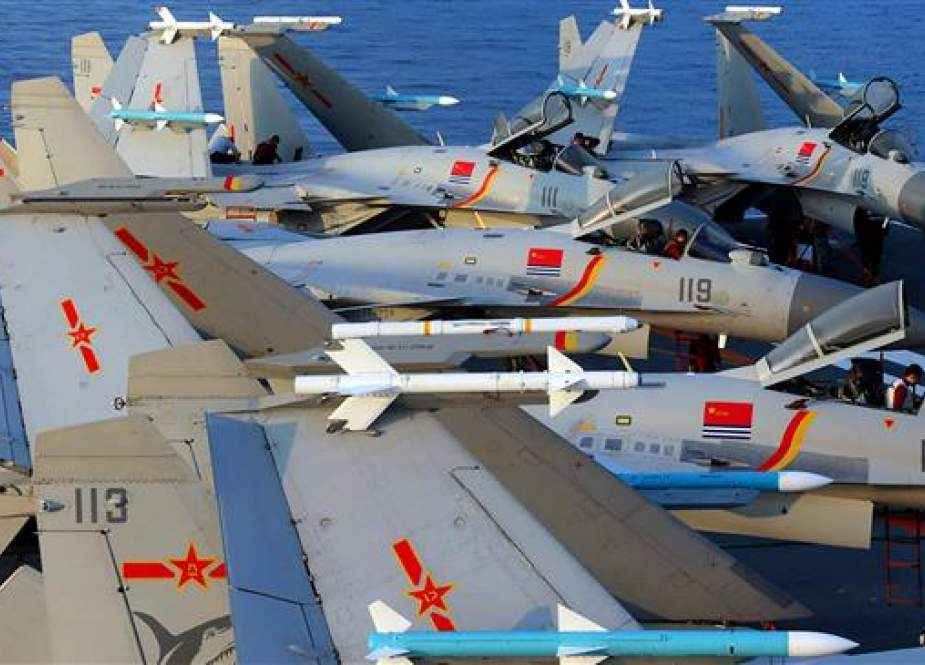 This undated photo taken in April 2018 shows J15 fighter jets on China