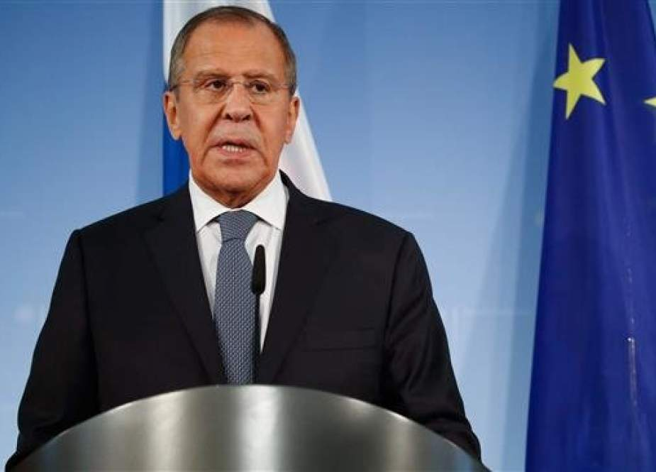 The file photo shows Russian Foreign Minister Sergei Lavrov addressing a press conference on September 14, 2018 in Berlin, Germany. (Photo by AFP)