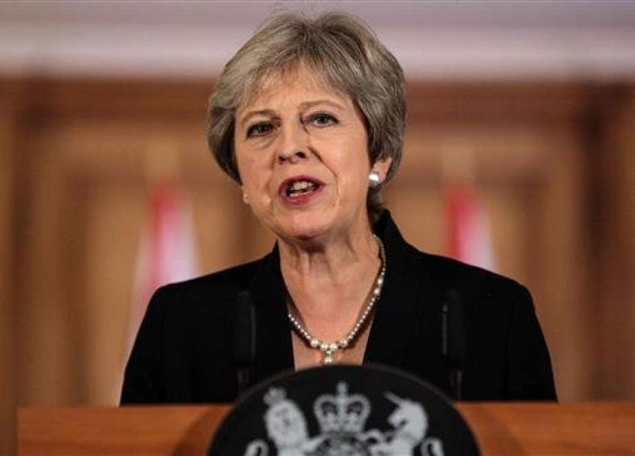 British Prime Minister Theresa May makes a statement at Downing Street, London, England, September 21, 2018. (Photo by AFP)