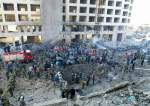 The site of the lorry bombing that killed former prime minister Rafiq Hariri and 21 bystanders