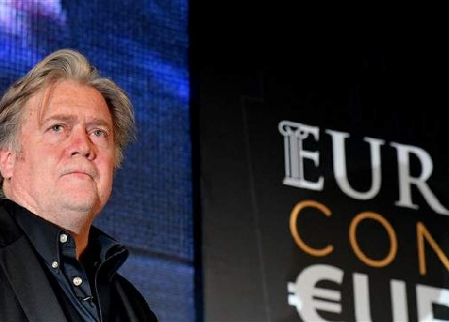 "Former White House Chief Strategist Steve Bannon attends a congress of the far right party ""Fratelli d"