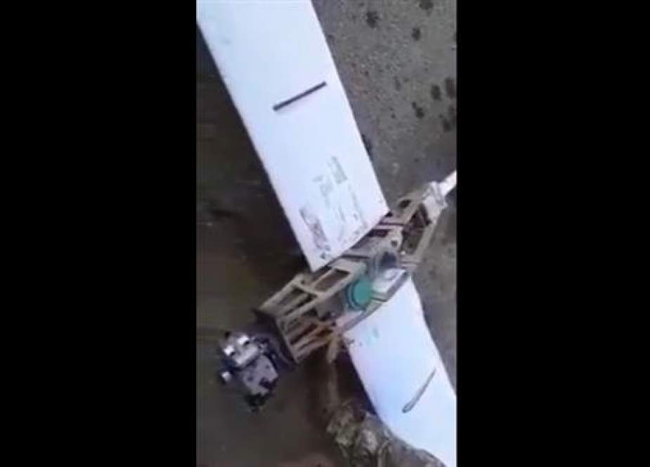 The militant combat drone shot down by Syrian government forces as it was flying in the skies over the country's western coastal province of Latakia on September 23, 2018.