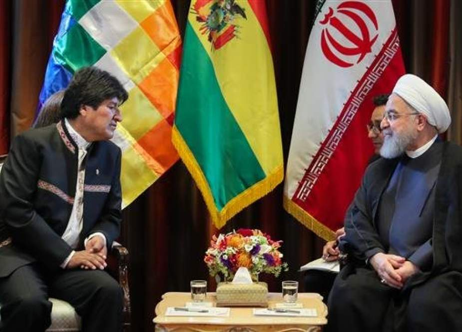 Iranian President Hassan Rouhani (R) holds talks with his Bolivian counterpart, Evo Morales, in New York on September 24, 2018. (Photo by president.ir)