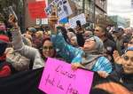 This photo taken from the website of Global News shows Muslim women attending an anti-racism rally in Montreal, Quebec Province, Canada, October 7, 2018.