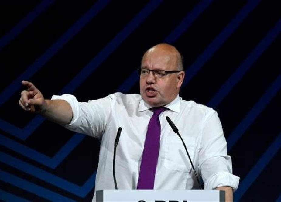 German Economy Minister Peter Altmaier addresses the audience during a conference organized by the Federation of German Industries (BDI) in Berlin on September 25, 2018. (Photo by AFP)