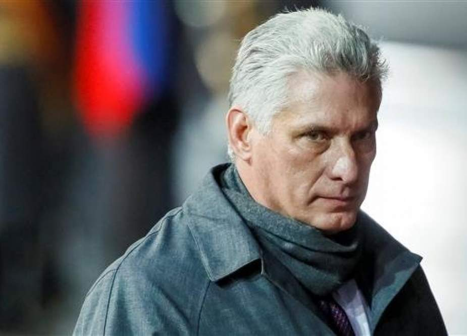 This file photo shows Cuba's President Miguel Diaz-Canel looking on during a welcoming ceremony on his arrival at Vnukovo International Airport in Moscow, Russia, on November 1, 2018. (By Reuters)