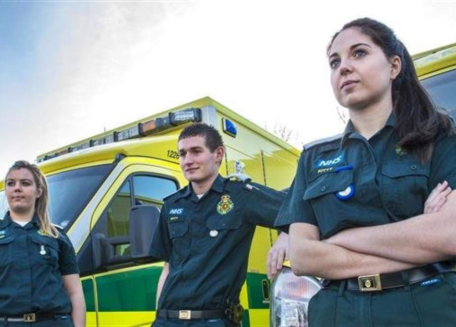 File photo shows female paramedics working at an ambulance service related to Britain