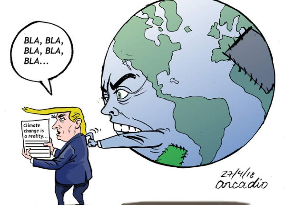 Trump denies climate change