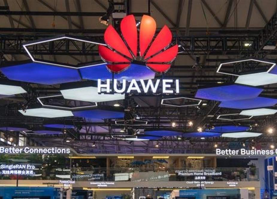 Photo of a Huawei stand at the Mobile World Conference in Shanghai, China, on June 27, 2018 (Photo by AFP)