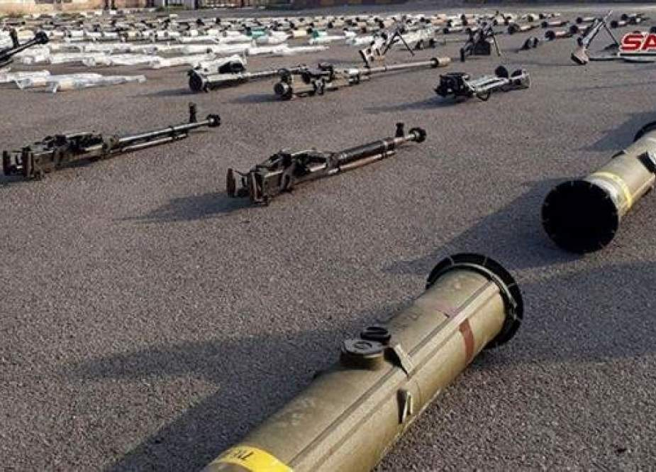 This picture taken on December 22, 2018, shows weapons seized by Syrian government forces during a military operation against Takfiri terrorists in Syria's southwestern province of Dara