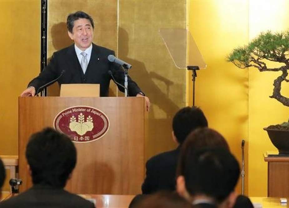 Japanese Prime Minister Shinzo Abe answers a question during his New Year press conference in Ise, Mie prefecture after visiting the Ise Grand shrine on January 4, 2019. (Photo by AFP)
